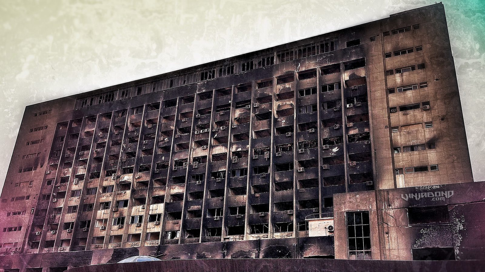 Burned-Out NDP Building in Cairo, Egypt