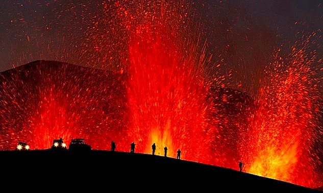 - Tourists Watching a Volcano Erupt -