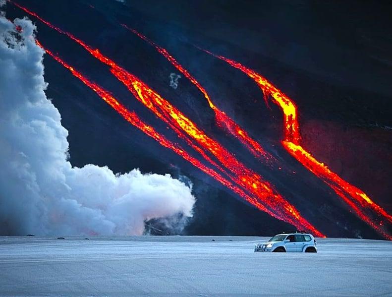 - Driving Along an Erupting Volcano -