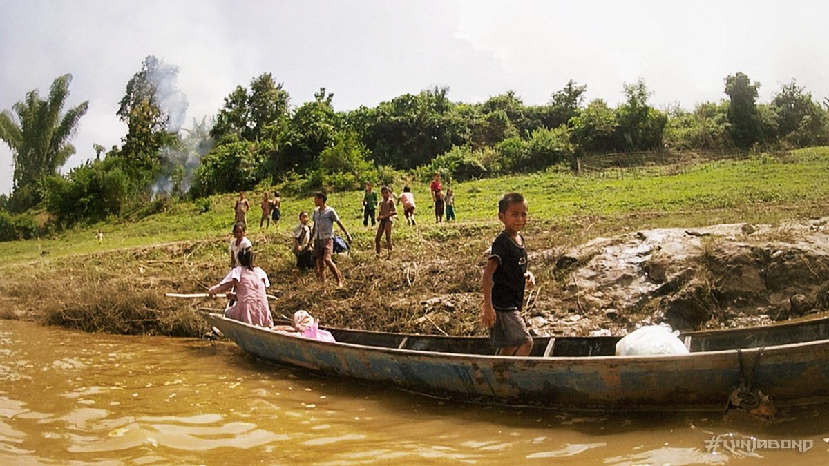- People Watching Along a Mekong Village in Thailand -