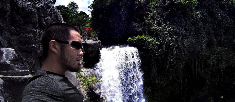 Vollebak Condition Black Ceramic T-Shirt at a Waterfall in Bali, Indonesia /// Vinjatek