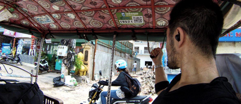 Riding in a tuk-tuk taxi in Siem Reap, Cambodia /// Vinjatek